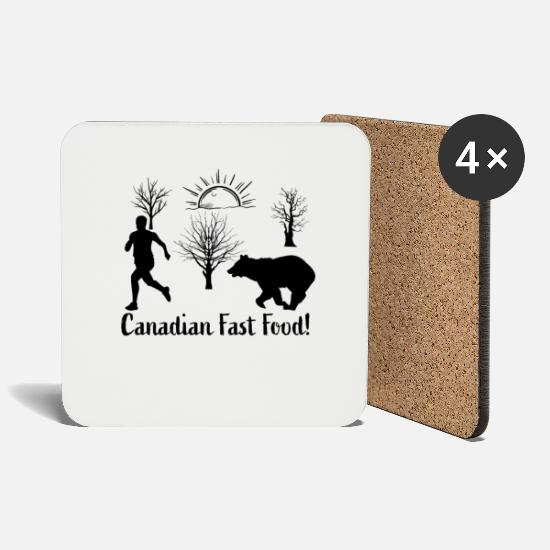 Maple Leaf Mugs & Drinkware - Canadian Fast Food - Coasters white