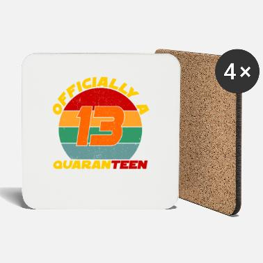 Birthday Officially quaranteen 13th birthday Vintage Birthd - Coasters
