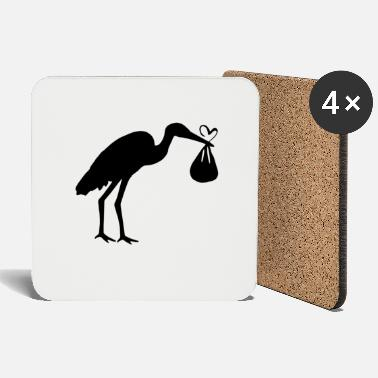 Toddler Stork with toddler and heart - Coasters