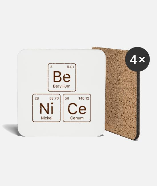 Periodic Table Mugs & Drinkware - Be NiCe Periodic Table - Coasters white