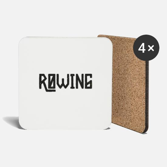 Rowing Mugs & Drinkware - Rowing rower sports competition club gift - Coasters white