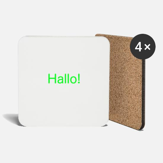 Colour Mugs & Drinkware - Hello - bright green - Coasters white