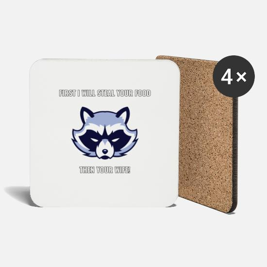 Gift Idea Mugs & Drinkware - Raccoon steals / funny saying - Coasters white
