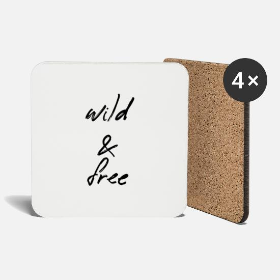 Gift Idea Mugs & Drinkware - wild and free - Coasters white
