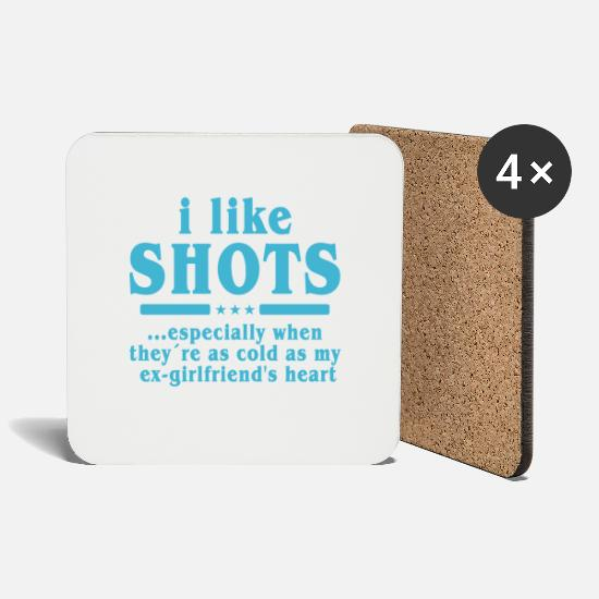 Alcohol Mugs & Drinkware - Shots liquor ex-girlfriend cold heart single gift - Coasters white