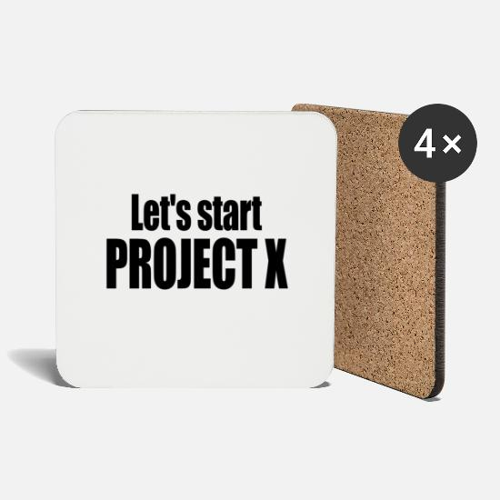 Gift Idea Mugs & Drinkware - Let's start PROJECT X. - Coasters white