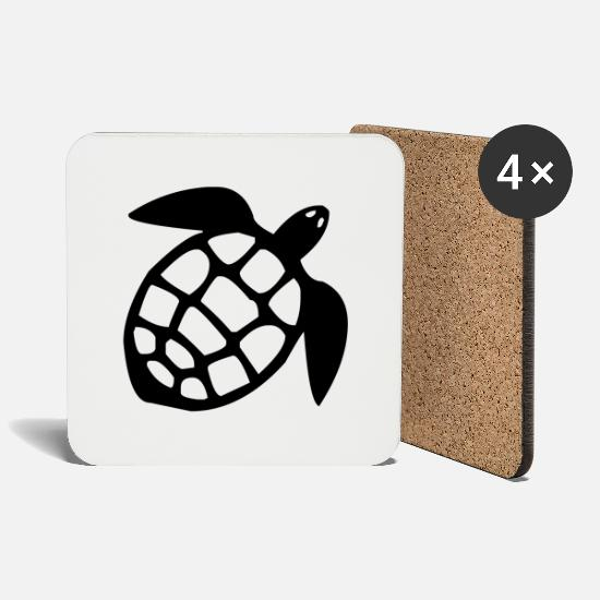 Turtle Mugs & Drinkware - Turtle tanks beach nature reptile - Coasters white