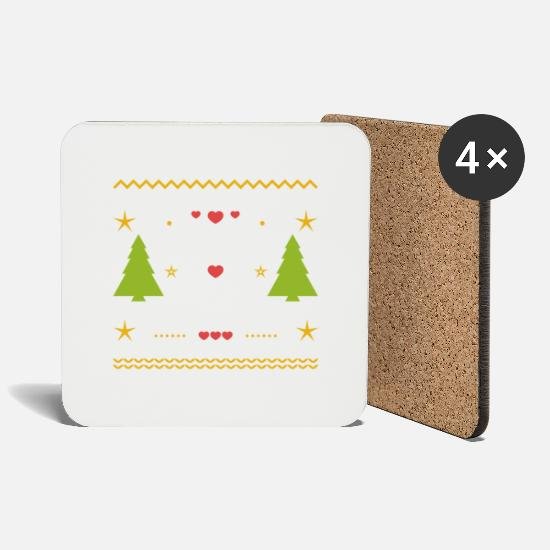 Gift Idea Mugs & Drinkware - Christmas Ugly Christmas gift knit star - Coasters white