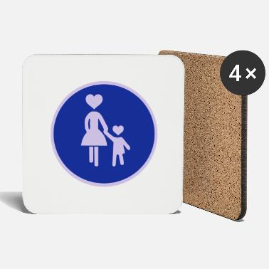 Pedestrians Traffic sign pedestrian woman with child 2 c. - Coasters