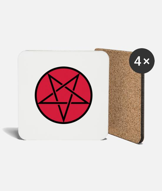 Symbol  Mugs & Drinkware - Pentagram in Circle 2c - Coasters white