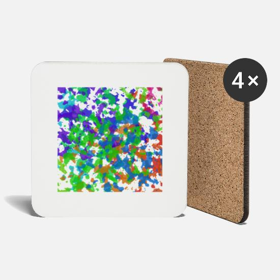 Gift Idea Mugs & Drinkware - abstract painting blob stains colored - Coasters white
