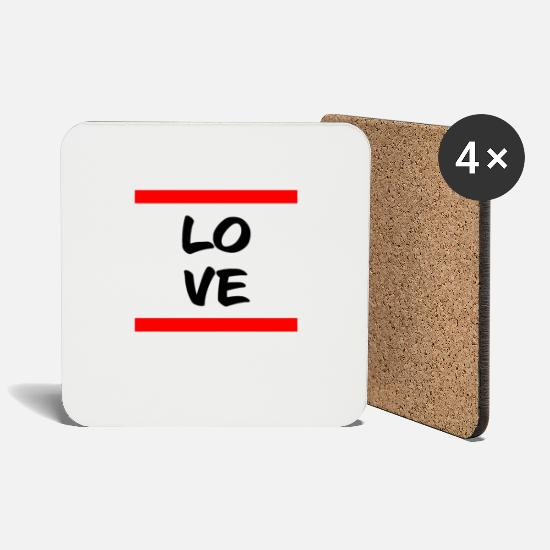 Love Mugs & Drinkware - Love, love, loving, in love - Coasters white