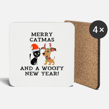 Woofy Merry Catmas And Woofy New Year Cat Dog Owner - Coasters