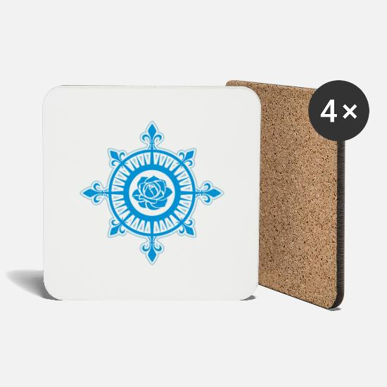 Beach Surfing Surf Mugs & Drinkware - Compass Rose, Fleur de Lis, Sailing, Sea, Sailor - Coasters white