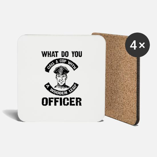 Lieben Tassen & Becher - what do a cop with a wooden leg officer - Untersetzer Weiß