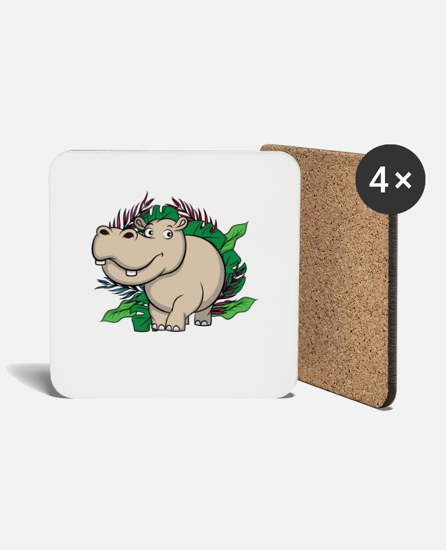 Sweet Fash Mugs & Drinkware - Jungle Hippo, king of the jungle - Coasters white