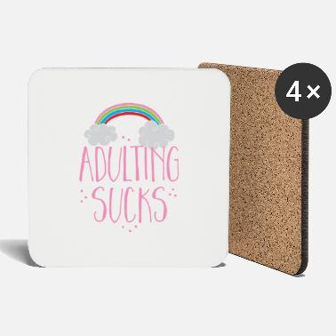 Job Underwear adulting sucks with a rainbow (being an adult) - Coasters