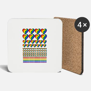 Lgbt Flag LGBT flag with hearts - Coasters