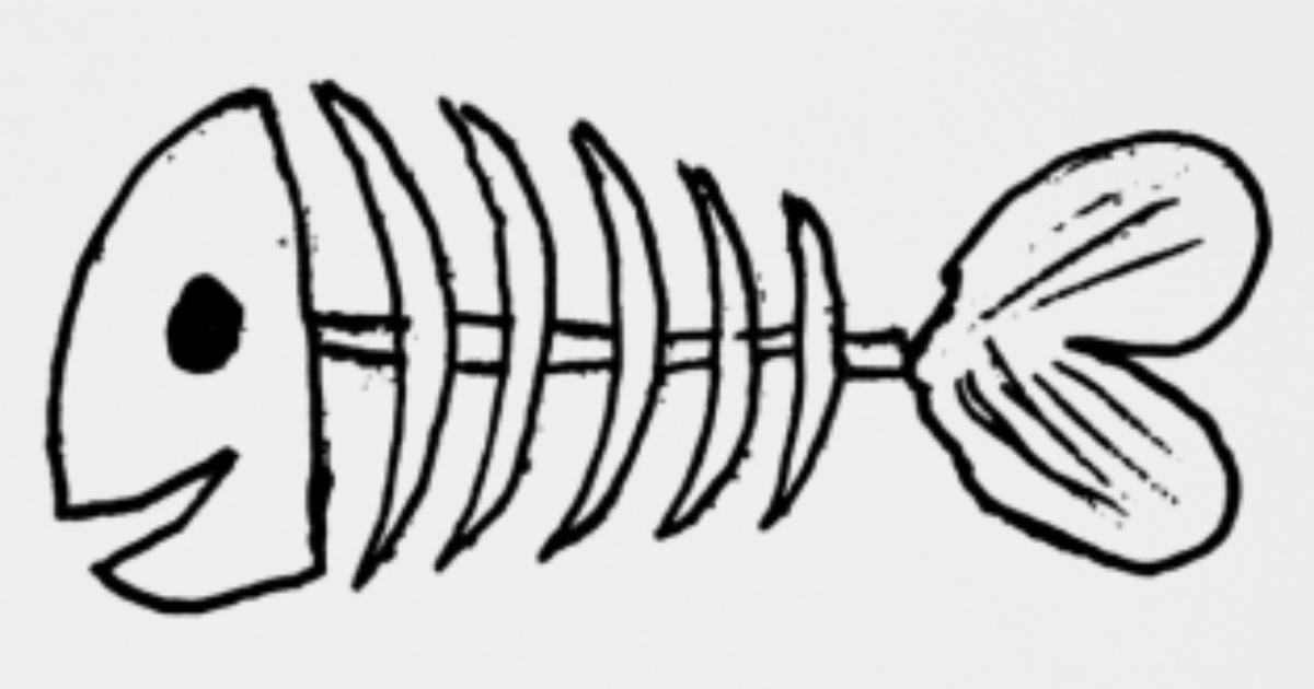 Cartoon visgraat met glimlach' Onderzetters | Spreadshirt
