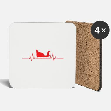 Beats Funny Christmas Heart Beat Sleigh Gift Idea - Coasters