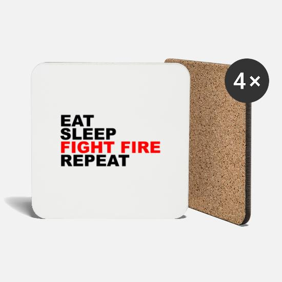 Rest Mugs & Drinkware - Eat Sleep Fight Fire Repeat - Coasters white