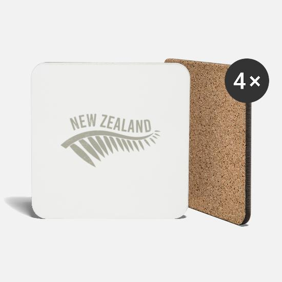 Christmas Mugs & Drinkware - Maori New Zealand Silverfarn Tribal Tattoo Gift - Coasters white