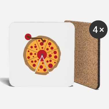 Christmas Pizza Vinyl Music Lover Vintage Funny Gift - Coasters