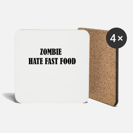 Cool Mugs & Drinkware - Zombie hate fast food - Coasters white