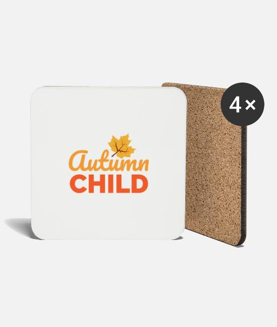 October Mugs & Drinkware - Autumn Child Herbstkind Kids gift idea - Coasters white