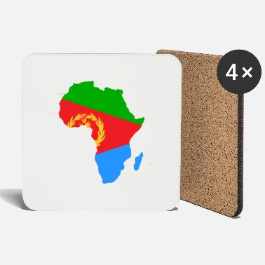 african_flag_map_of_eritrea - Coasters