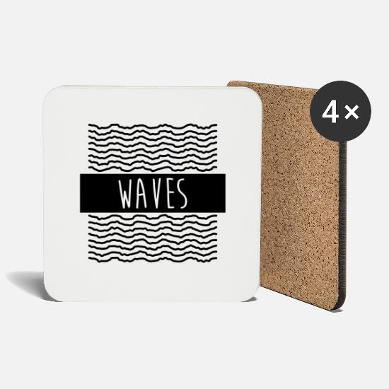White Mugs & Drinkware - Waves - Coasters white
