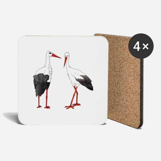 Wing Mugs & Drinkware - A pair of storks - Coasters white