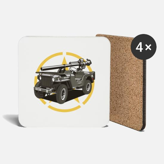 Military Mugs & Drinkware - Off-road military vehicle - Coasters white
