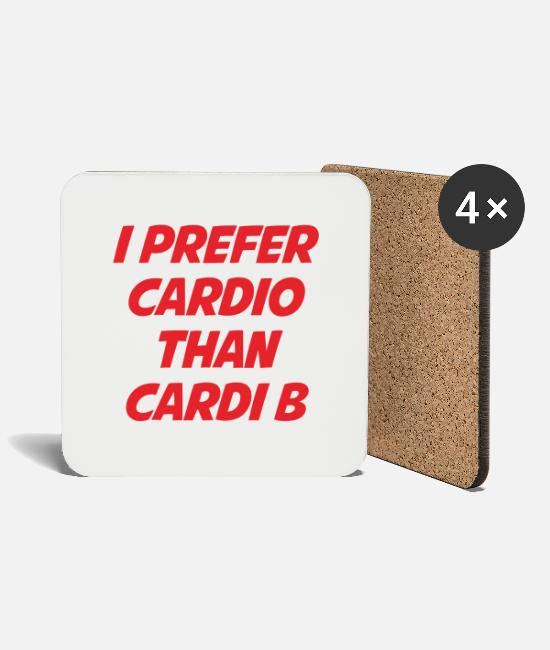 Rap Mugs & Drinkware - I PREFER CARDIO - Coasters white