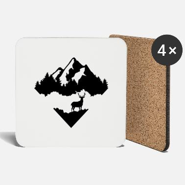 Rocky Mountains Deer, Forrest and Mountains - Coasters