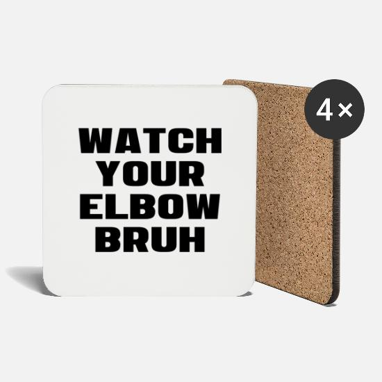 Alcohol Mugs & Drinkware - Watch Your Elbow Bruh Funny Beer Pong Referee - Coasters white