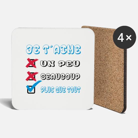 Je Taime Plus Que Tout Coasters Set Of 4 White