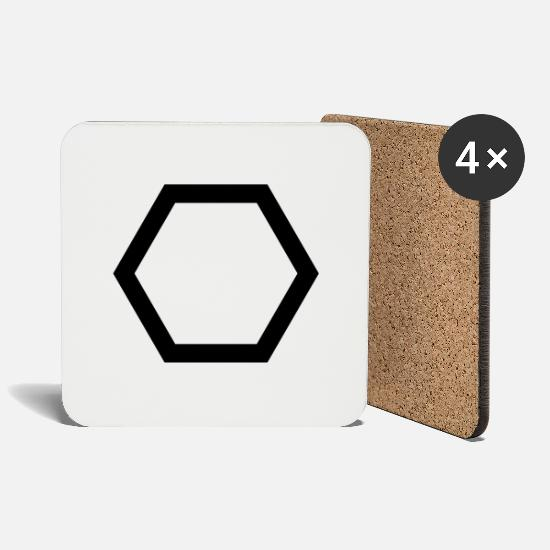 High School Graduate Mugs & Drinkware - Hexagon hexagon honeycomb - Coasters white