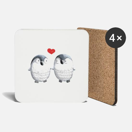 Love Mugs & Drinkware - Penguins in Love - Penguin - Bird - Love - Heart - Coasters white