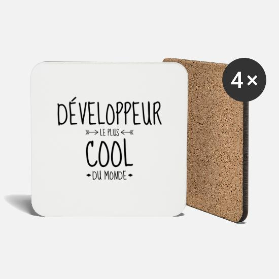 Code Mugs & Drinkware - Developer Entwickler Développeur Computer Geek - Coasters white