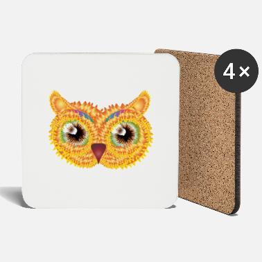 Bright abstract owl head made of floral shapes - Coasters