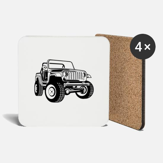 Army Mugs & Drinkware - Off-road vehicle / Jeep SUV 03_black white - Coasters white