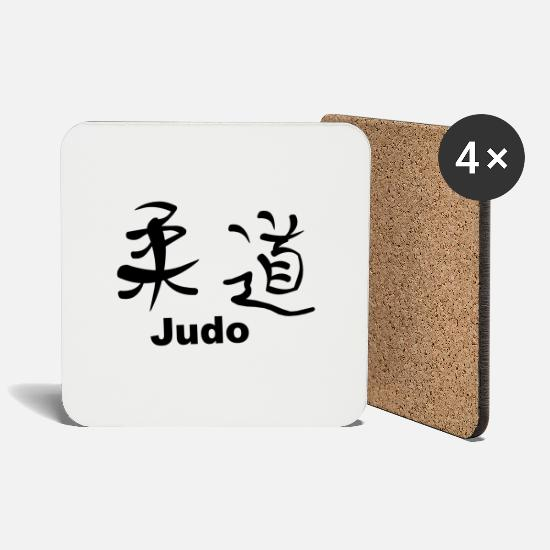 Chinese Mugs & Drinkware - Kanji - Judo - Coasters white