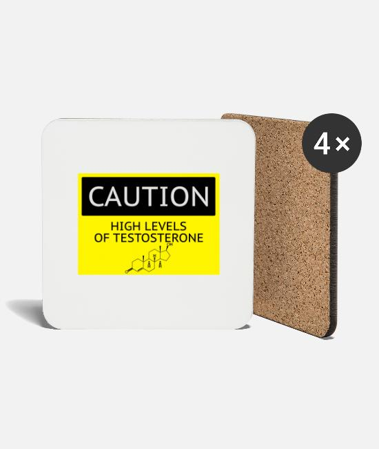 Fuck Mugs & Drinkware - caution_testosterone - Coasters white