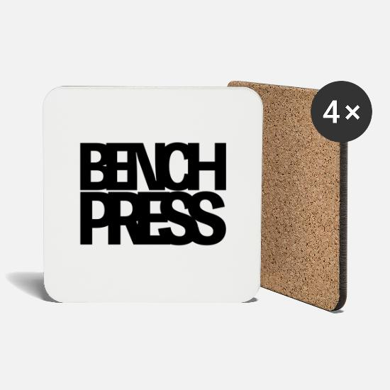 Body Builder Mugs & Drinkware - Bench Press - Coasters white