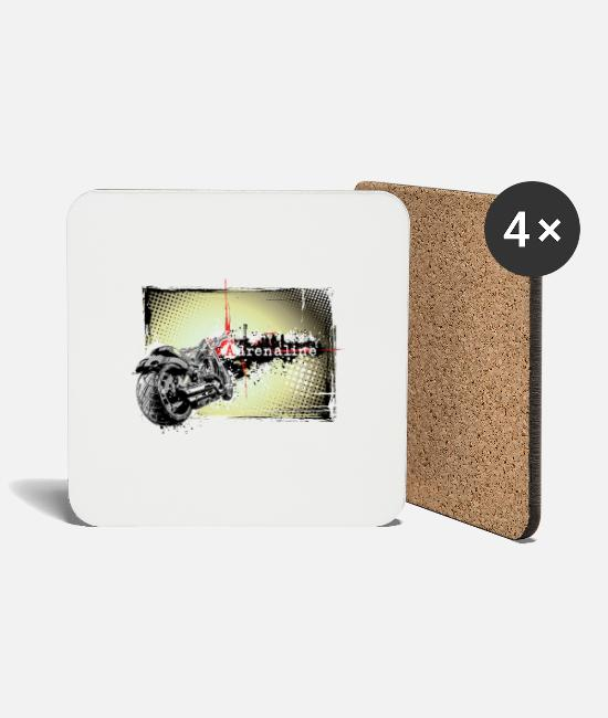 Vehicle Mugs & Drinkware - Motorcycle Illustration Adrenaline - Coasters white