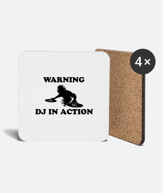 Bass Mugs & Drinkware - DJ IN ACTION Black - Coasters white