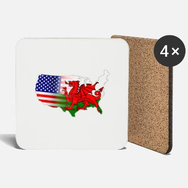 Ancestry American Welsh Flag - Coasters