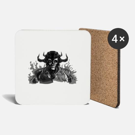 Rock Mugs & Drinkware - DEATH LORD - Coasters white
