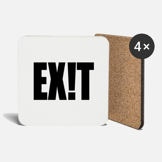Techno Mugs & Drinkware - EXIT exit-shirt - Coasters white